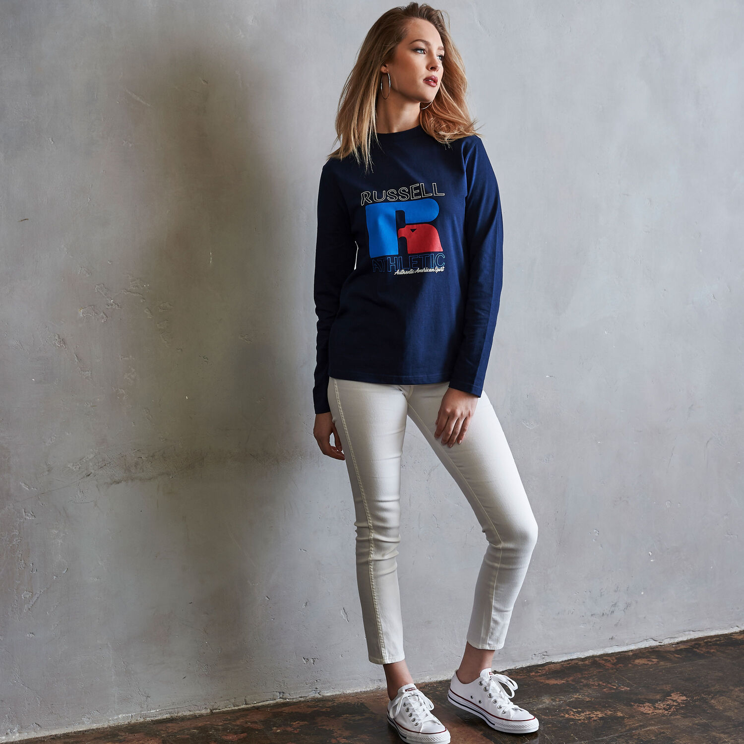 8b586b74771 Women's Heritage Graphic Long Sleeve T-Shirt - Russell US | Russell ...