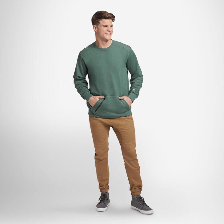 Men's Cotton Rich Fleece Crew Sweatshirt GREEN HEATHER