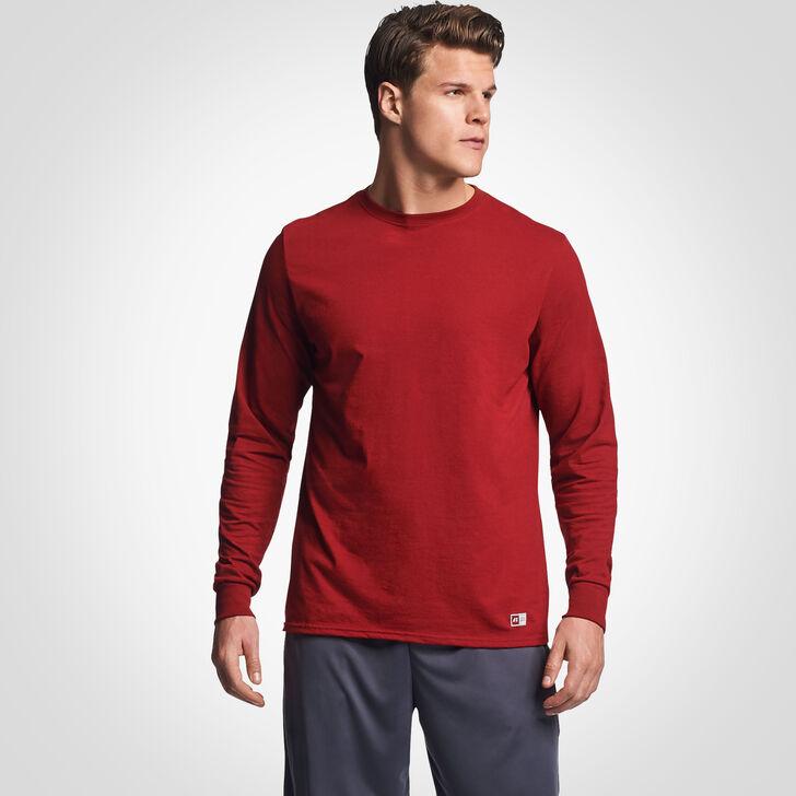 Men's Cotton Performance Long Sleeve T-Shirt CARDINAL