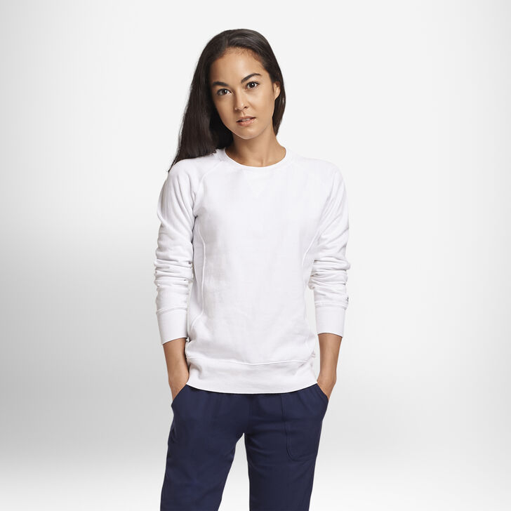 Women's Fleece Crew Sweatshirt White
