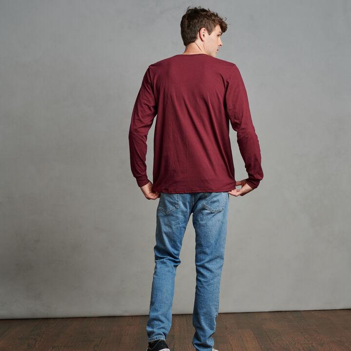 Men's Cotton Performance Long Sleeve T-Shirt Maroon