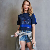 Women's Heritage Cropped Athletic Graphic T-Shirt NAVY