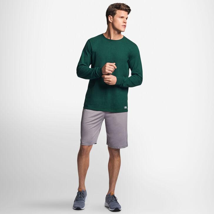 Men's Cotton Performance Long Sleeve T-Shirt DARK GREEN