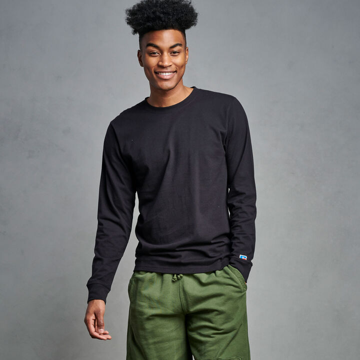 Men's Premium Cotton Classic Long Sleeve T-Shirt BLACK