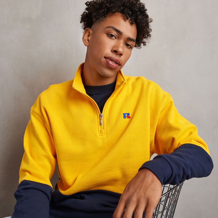 Men's Heritage Drop Shoulder Color Block Fleece 1/4 Zip GOLD FUSION