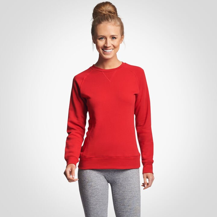 Women's Lightweight Fleece Crew Sweatshirt TRUE RED