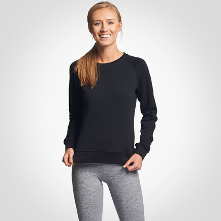Women's Lightweight Fleece Crew Sweatshirt BLACK