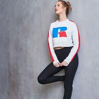 Women's Heritage Cropped Logo Graphic Fleece Sweatshirt BLEACHED MARL