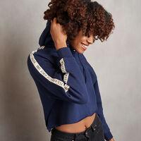 Women's Heritage Cropped Twill Tape Fleece Hoodie NAVY