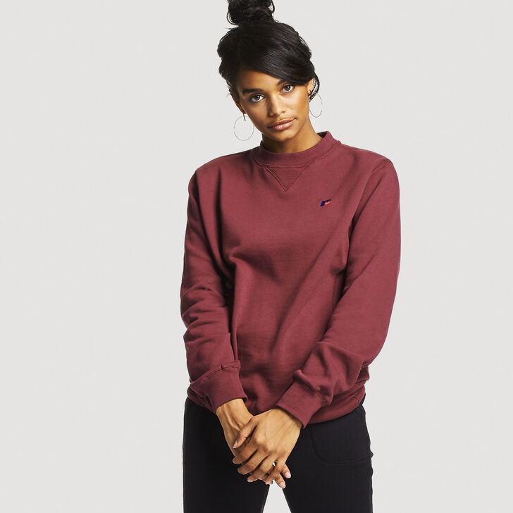 Women's Heritage Oversized Fleece Crew Sweatshirt BURGUNDY