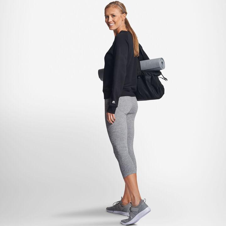 Women's Lightweight Fleece Crew Sweatshirt BLACK
