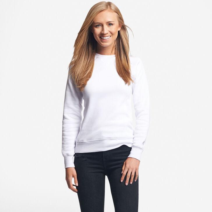 Women's Fleece Crew Sweatshirt White