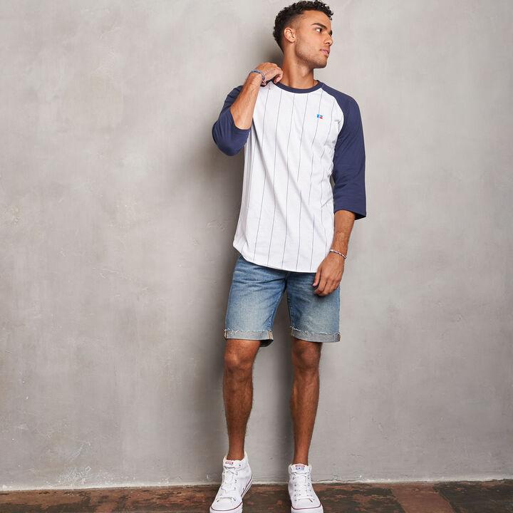 Men's Cotton Classic Pinstripe Baseball T-Shirt NAVY