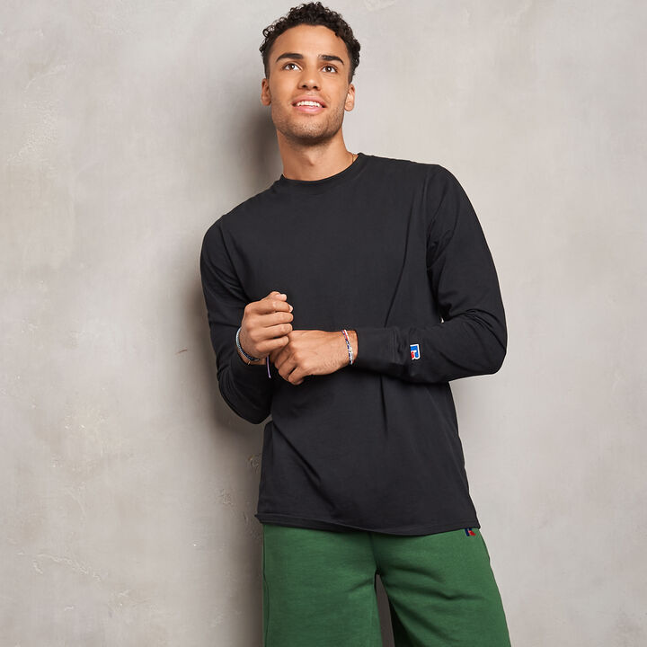 Men's Heavyweight Cotton Classic Long Sleeve T-Shirt BLACK
