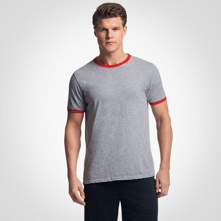 Men's Cotton Performance Ringer T-Shirt OXFORD/TRUE RED