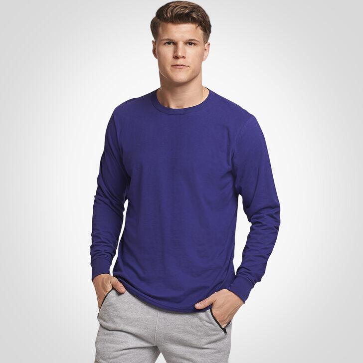 Men's Cotton Performance Long Sleeve Tee PURPLE