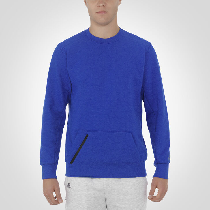 Men's Cotton Rich Fleece Crew Sweatshirt BLUE HEATHER