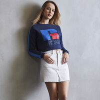 Women's Heritage Cropped Logo Graphic Fleece Sweatshirt NAVY