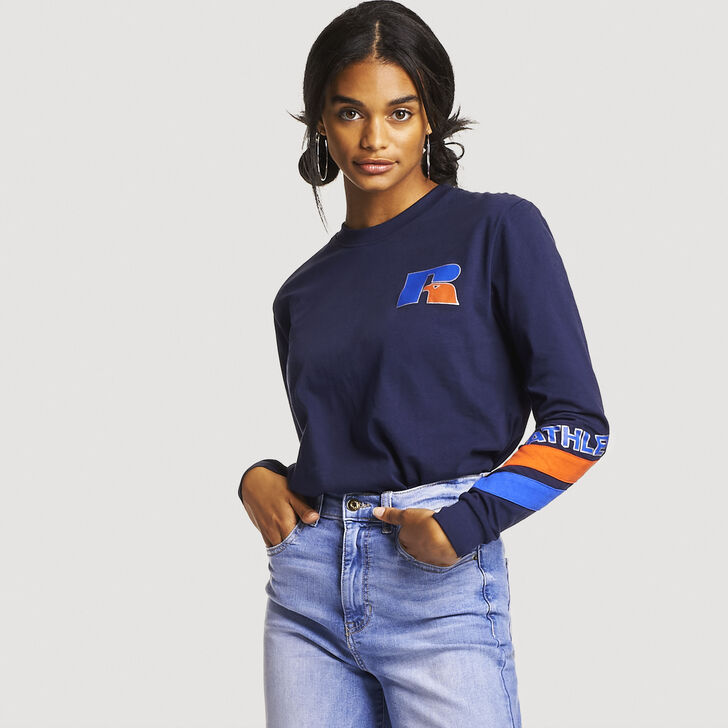 Women's Antonio Long Sleeve Boyfriend Tee NAVY
