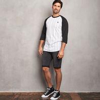 Men's Cotton Classic Pinstripe Baseball T-Shirt BLACK