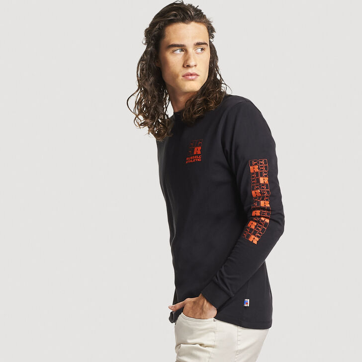 Men's Heritage Stamped Logo Long Sleeve T-Shirt BLACK