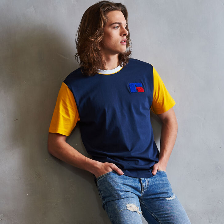Men's Heritage Color Block Chenille Badge T-Shirt NAVY