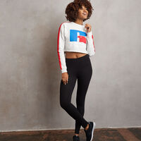 Women's Heritage Cropped Logo Graphic Fleece Sweatshrit BLEACHED MARL