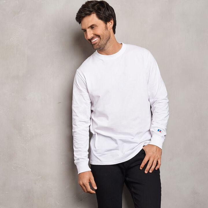 Men's Heavyweight Cotton Classic Long Sleeve T-Shirt WHITE