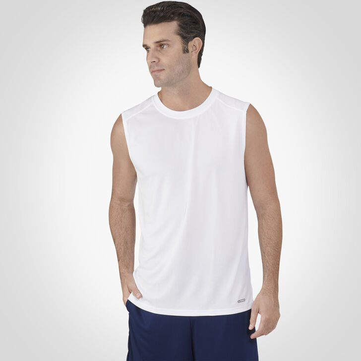 Men's Dri-Power® Performance Mesh Sleeveless Muscle White