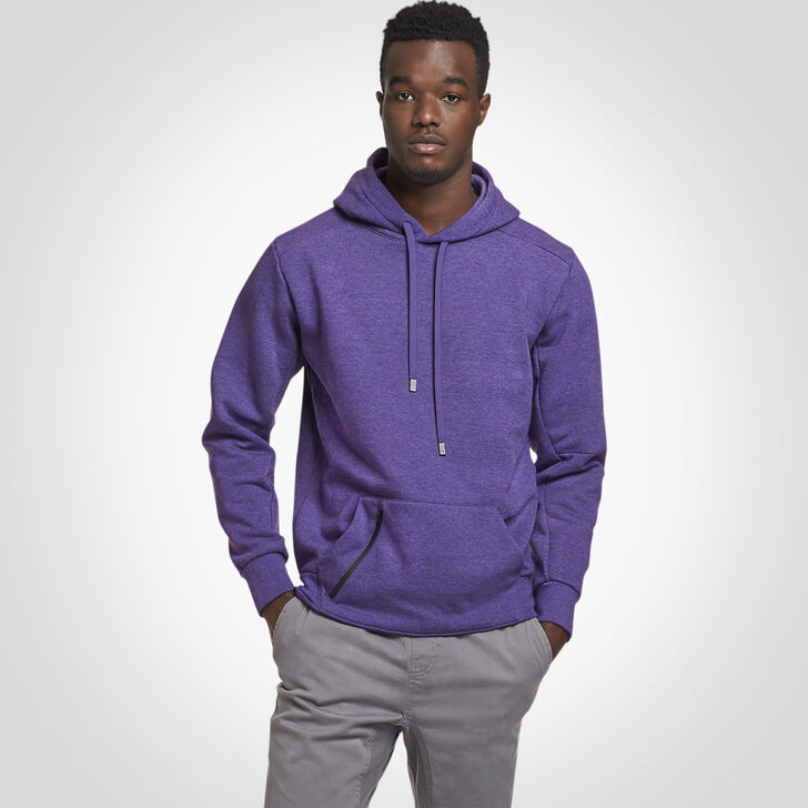 Men's Cotton Rich Fleece Hoodie PURPLE HEATHER
