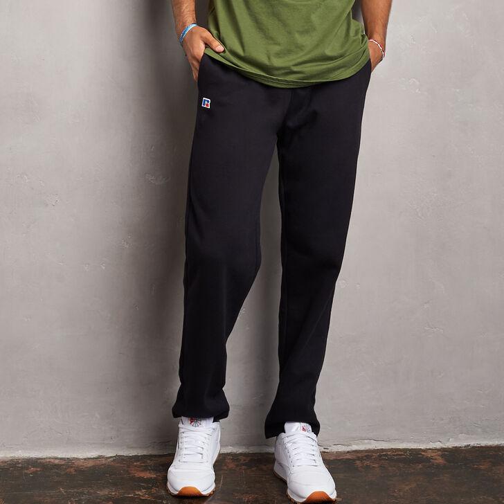 Men's Cotton Classic Open Bottom Fleece Sweatpants BLACK