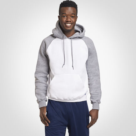 Men's Dri-Power® Fleece Colorblock Hoodie WHITE/OXFORD