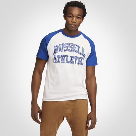 Men's Heritage Raglan Color Block Arch Graphic T-Shirt ROYAL