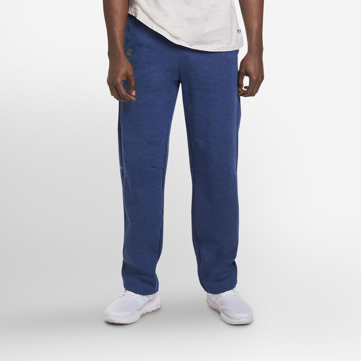 Men's Cotton Rich Open-Bottom Sweatpants with Pockets NAVY HEATHER