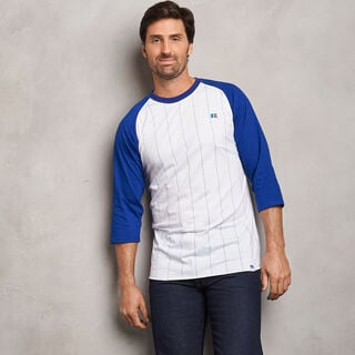Men's Cotton Classic Pinstripe Baseball T-Shirt ROYAL