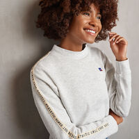 Women's Heritage Mid-Crop Twill Tape Fleece Sweatshirt BLEACHED MARL