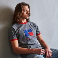 Men's Heritage Puff Print Graphic Ringer T-Shirt HEATHER GRAY