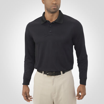 Men's Dri-Power® Performance Long Sleeve Golf Polo BLACK