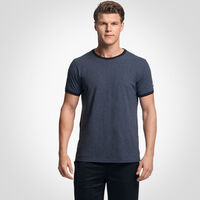 Men's Cotton Performance Ringer T-Shirt BLACK HEATHER/BLACK