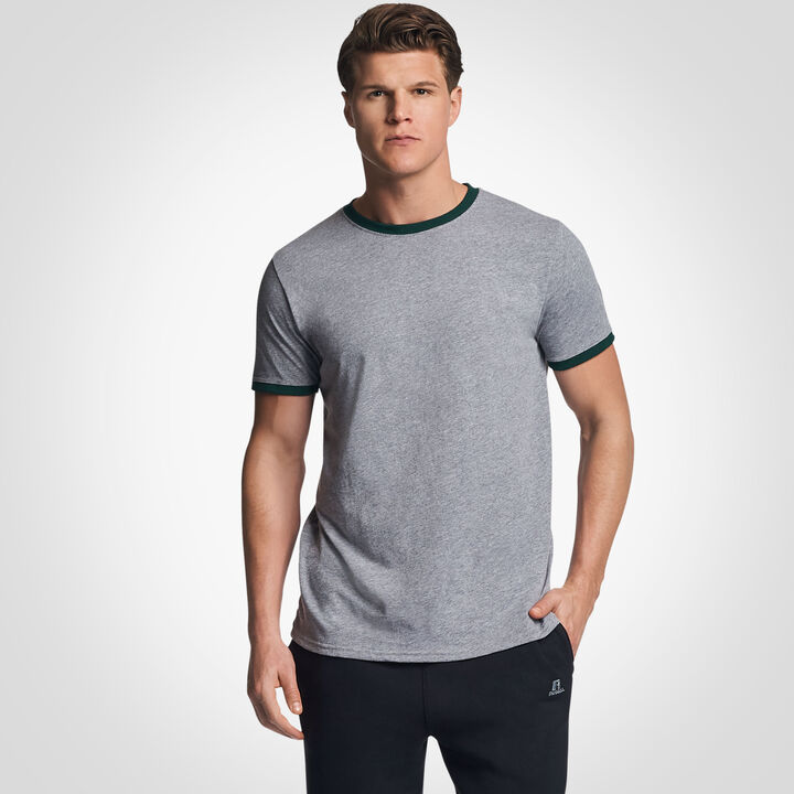Men's Cotton Performance Ringer T-Shirt OXFORD/DARK GREEN