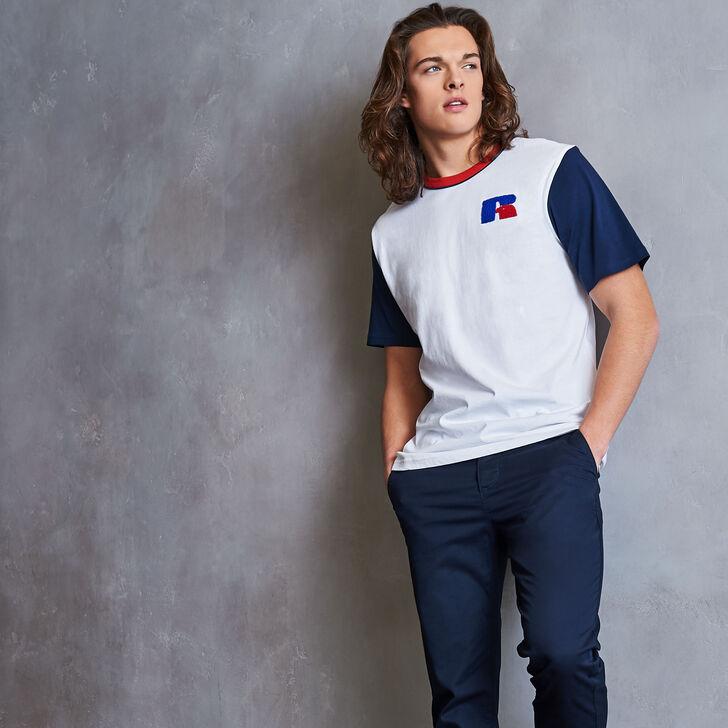 Men's Heritage Color Block Chenille Badge T-Shirt WHITE