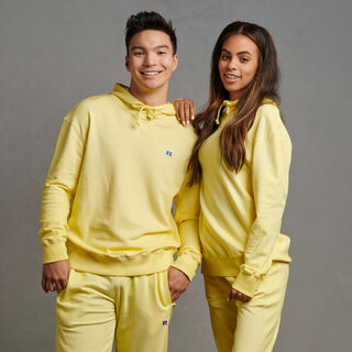 Men's Garment Dyed French Terry Hoodie Spring Yellow