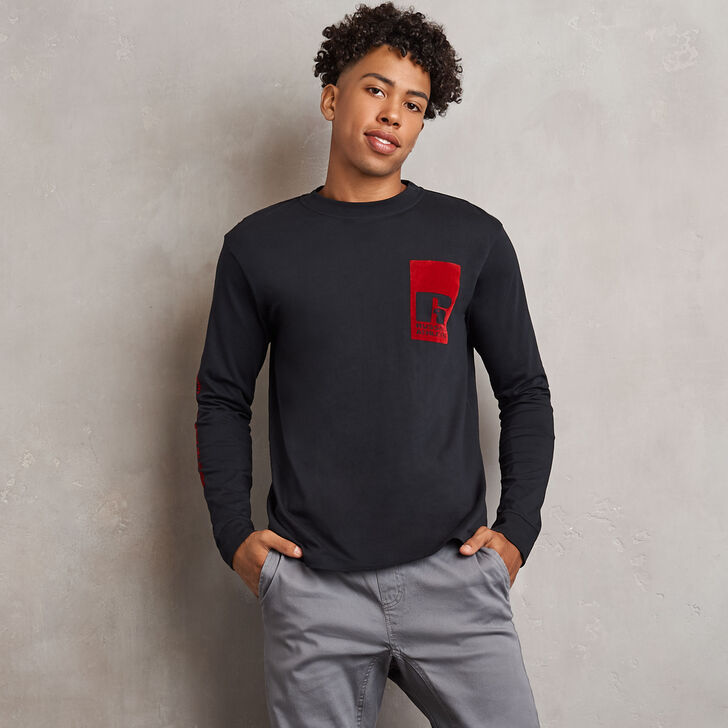 Men's Heritage Flock Graphic Long Sleeve T-Shirt BLACK