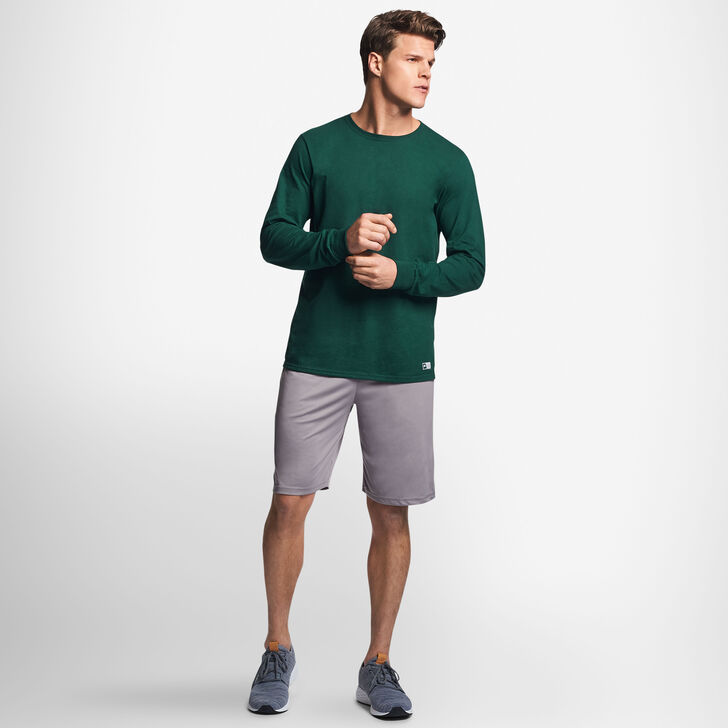 Men's Cotton Performance Long Sleeve T-Shirt DARK GREEN