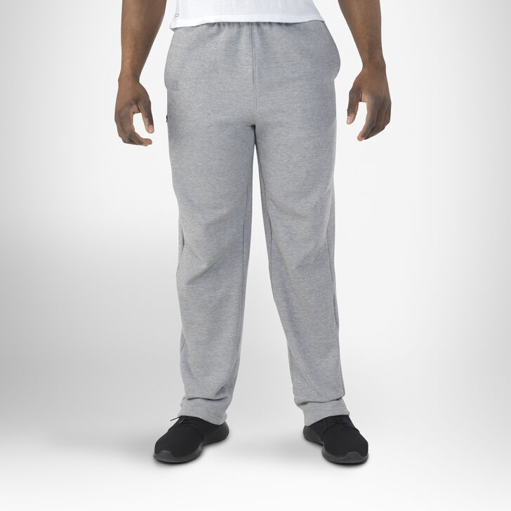 Men's Cotton Rich Open-Bottom Sweatpants with Pockets MEDIUM GREY HEATHER