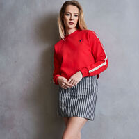 Women's Heritage Mid-Crop Twill Tape Fleece Sweatshirt TRUE RED