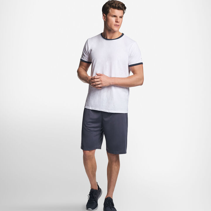 Men's Cotton Performance Ringer T-Shirt WHITE/BLACK HEATHER