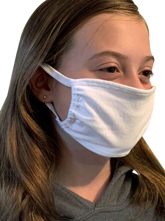 Kid's Reusable Cotton Face Mask Non-Medical, 5 Pack White