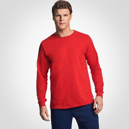 Men's Cotton Performance Long Sleeve T-Shirt TRUE RED