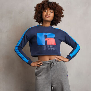 Women's Heritage Cropped Logo Graphic Fleece Sweatshrit NAVY